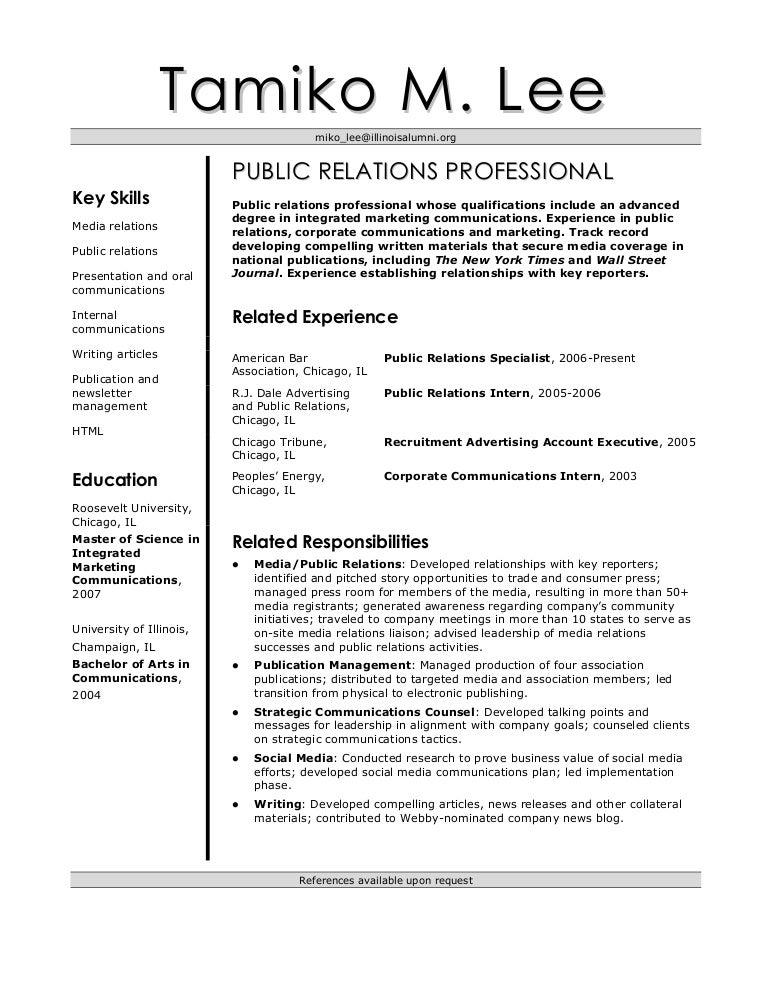 public relations specialist resumes