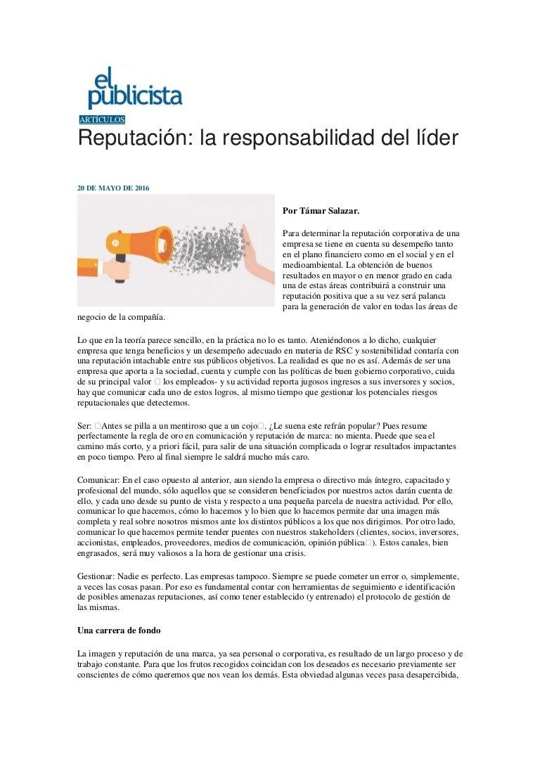 Reputación: la responsabilidad del líder