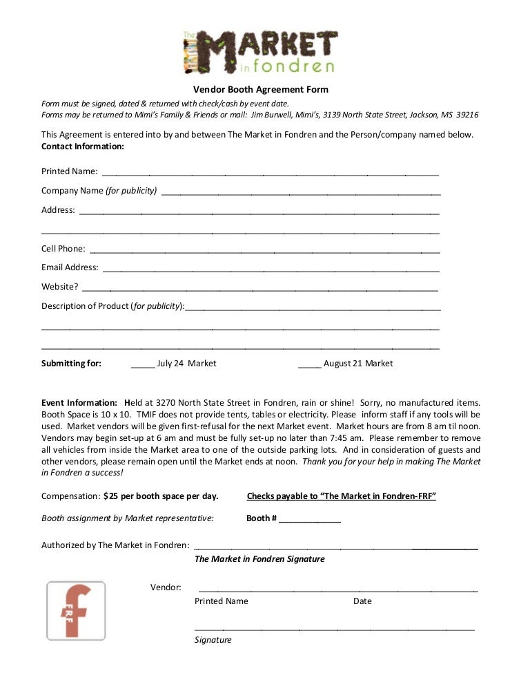 The MARKET in Fondren Vendor Agreement Form
