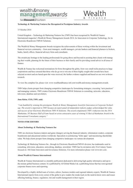 Tmv press release