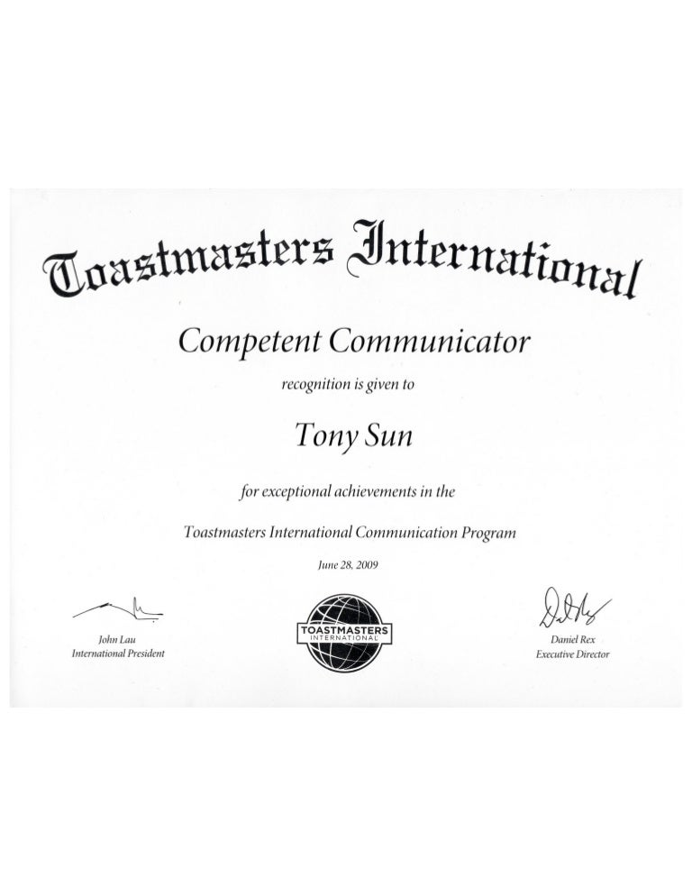 Toastmasters Certification Tony Sun