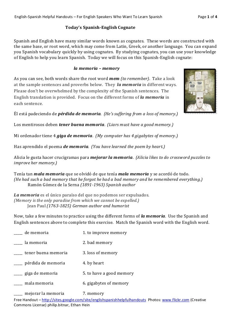 Workbooks teach english to spanish speakers worksheets : Today's spanish english cognate