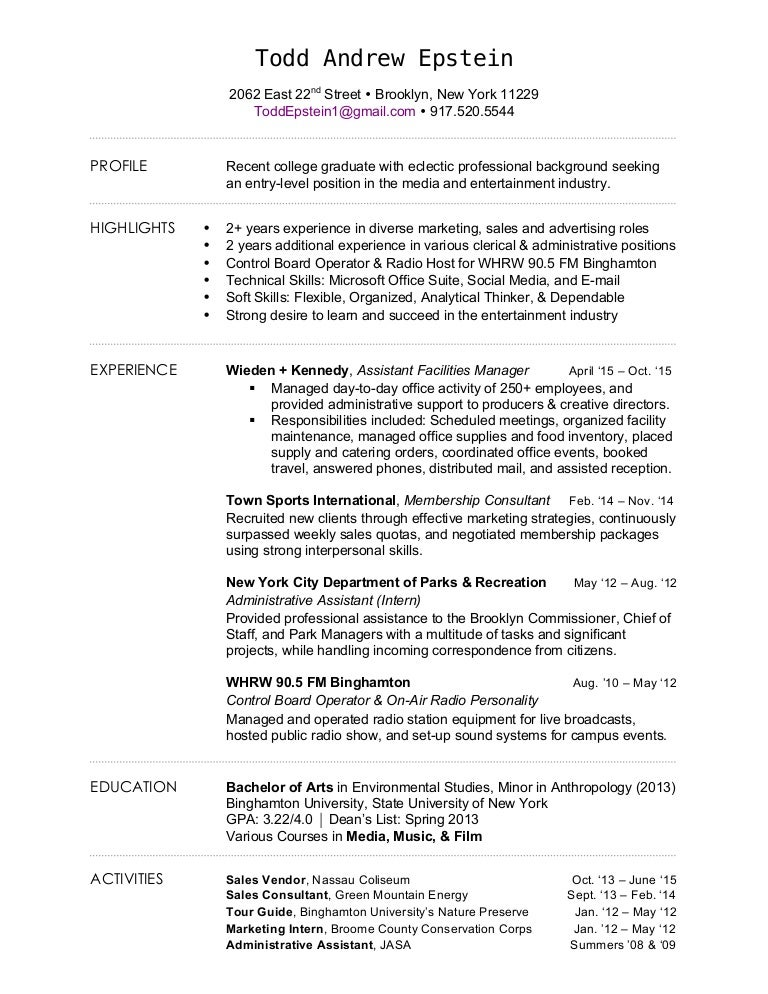 Entertainment Industry Resume Samples Entertainment Executive  Entertainment Industry Resume