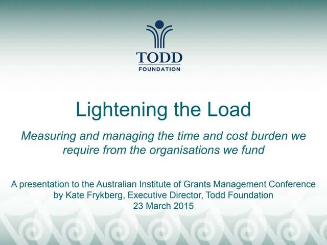 Todd foundation aigm presentation   lightening the load