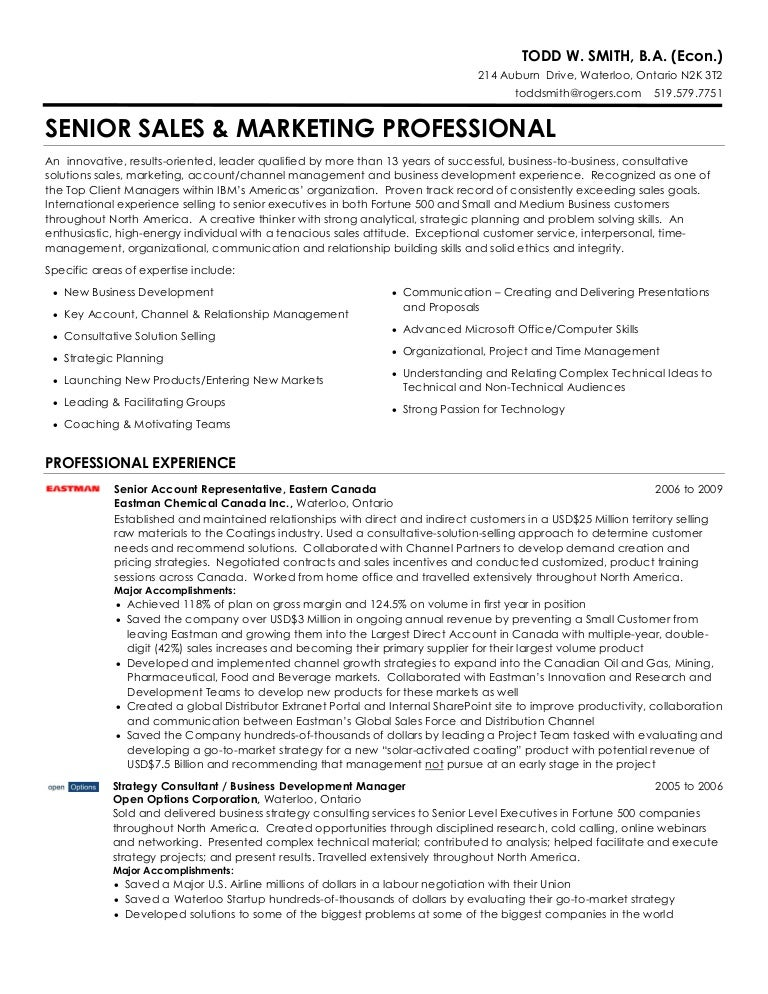 Todd W Smith  Senior Sales  Marketing Professional Resume