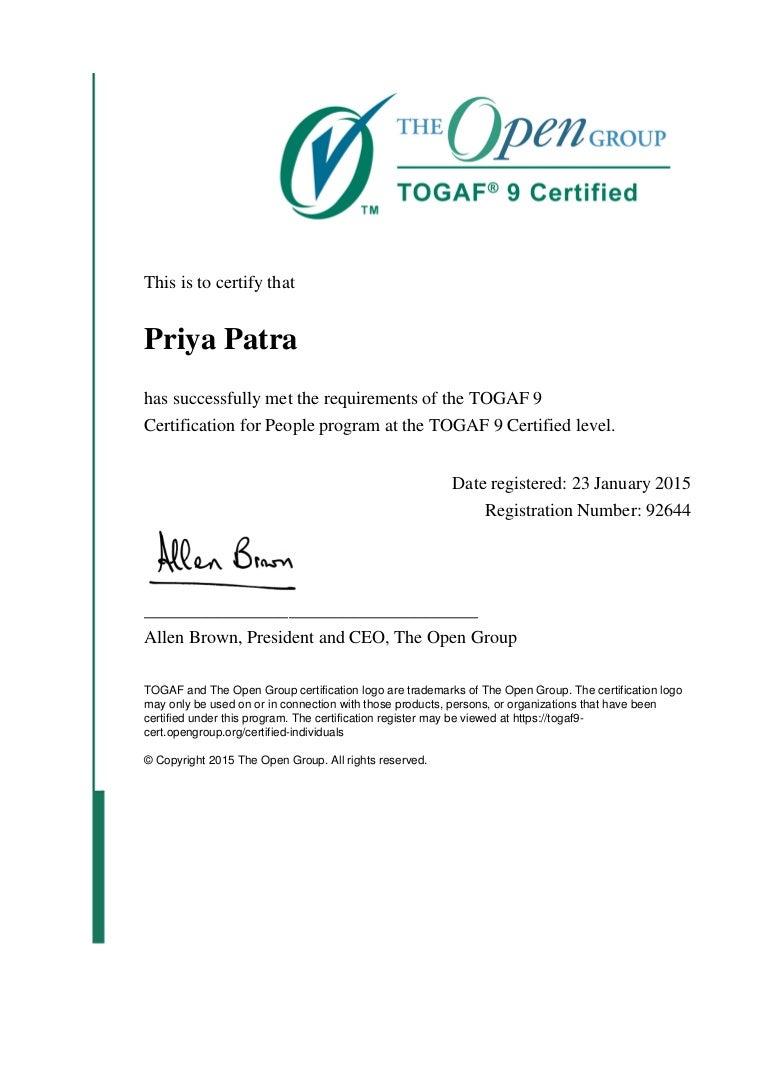 Togaf 9 certificate xflitez Gallery