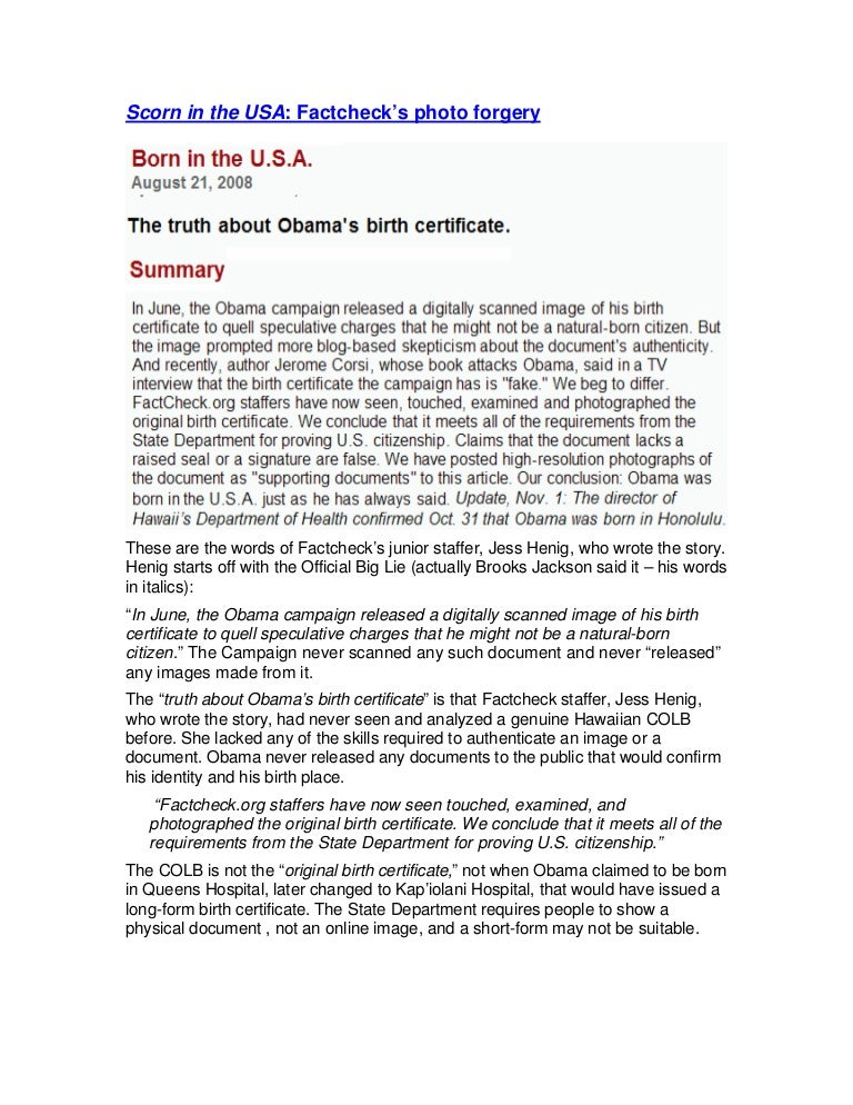 Factcheck Forged Obamas Birth Certificate