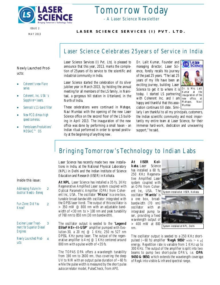 Tomorrow Today - A Laser Science Newsletter (2nd issue) - May 2013