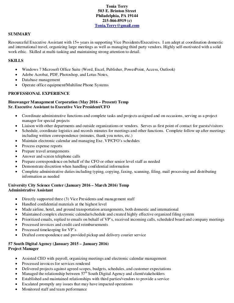 tonia terry professional resume