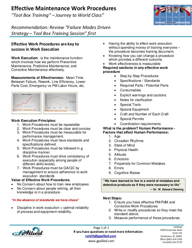 tool box talks template - tool box talk effective maintenance work procedures 1