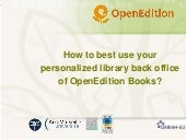 User's guide: library back office of OpenEdition Books