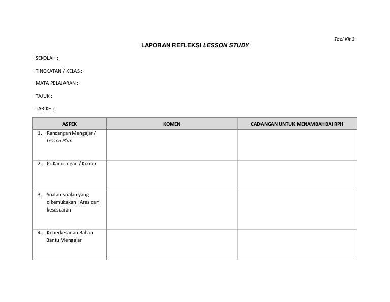 Lesson Study Tool Kit Ls 3 Laporan Refleksi