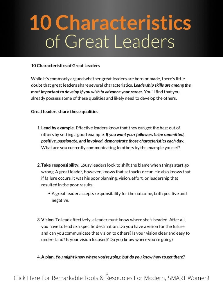 qualities of a great leader list