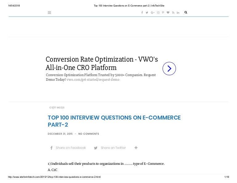Top 100 interview questions on e commerce part-2 info-techsite