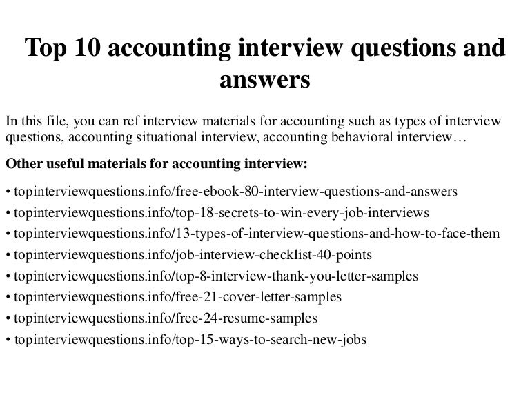 Top 10 accounting interview questions and answers