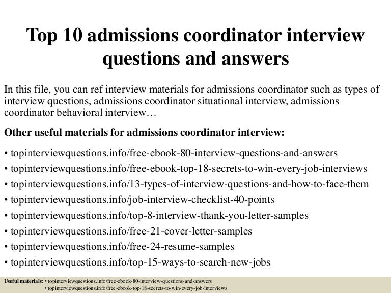Admissions Coordinator Cover Letter | Resume CV Cover Letter