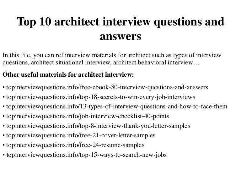 Top 10 architect interview questions and answers