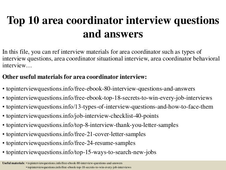 top 10 area coordinator interview questions and answers - Executive Coordinator Interview Questions And Answers