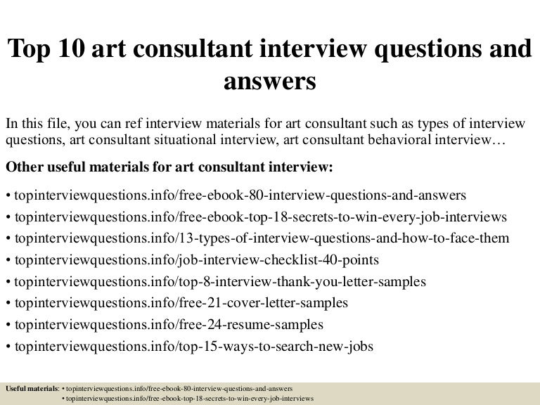 Top 10 art consultant interview questions and answers