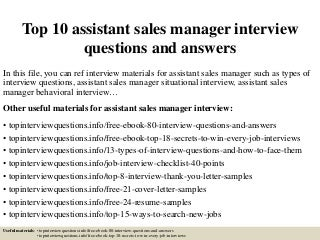Top    assistant sales manager interview questions and answers LinkedIn