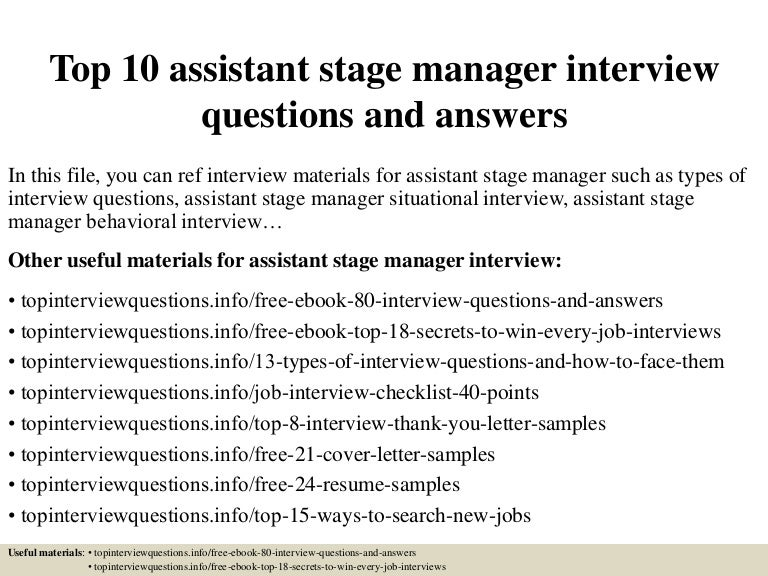 stage manager cover letters