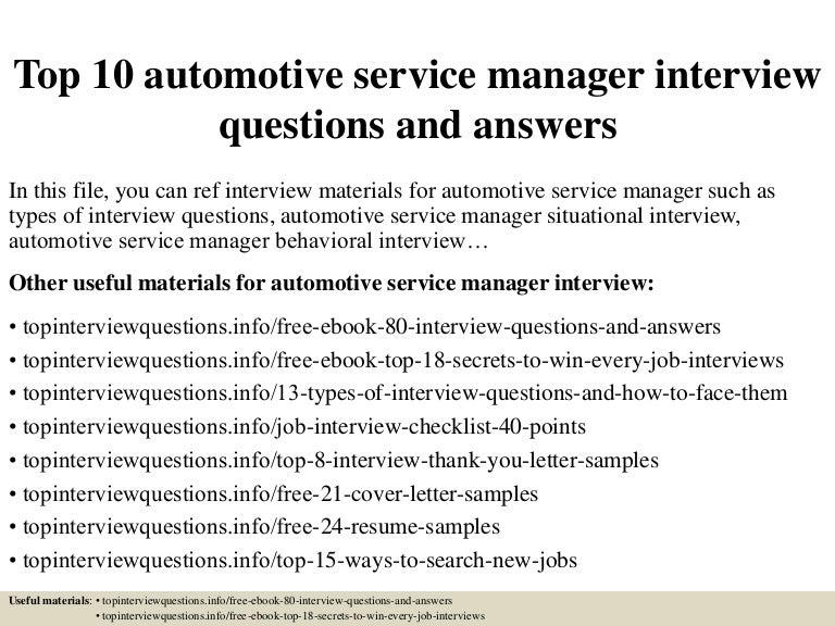 automotive service manager job description resume