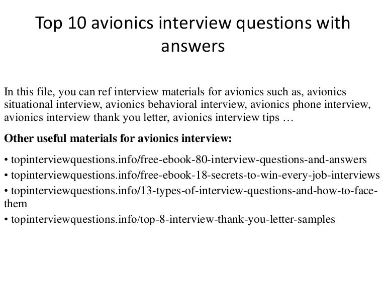 top 10 avionics interview questions with answers - Avionics Installer Jobs