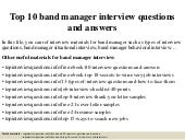 Top 10 band manager interview questions and answers