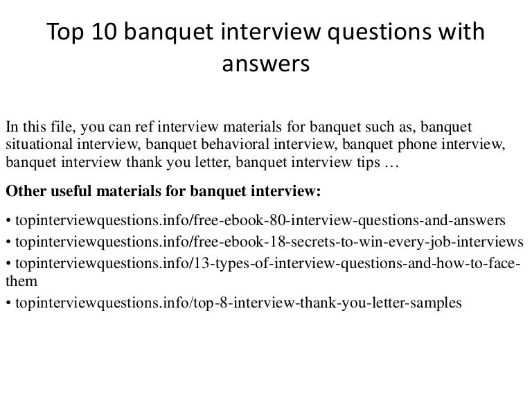 Top 10 banquet interview questions with answers