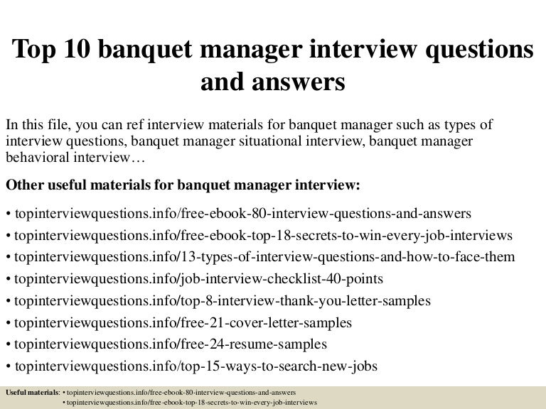 Top 10 banquet manager interview questions and answers