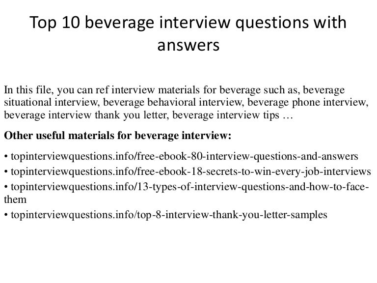 Top 10 beverage interview questions with answers