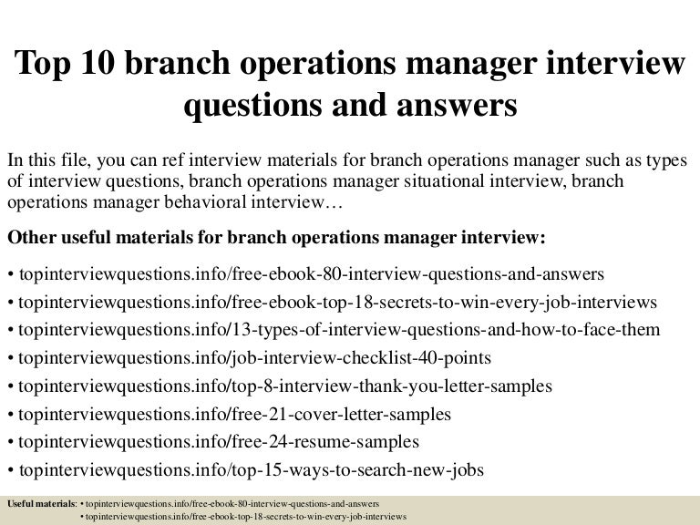 Top 10 Branch Operations Manager Interview Questions And