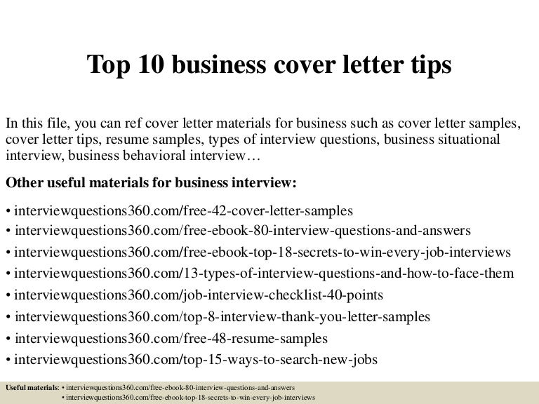 Top 10 Business Cover Letter Tips