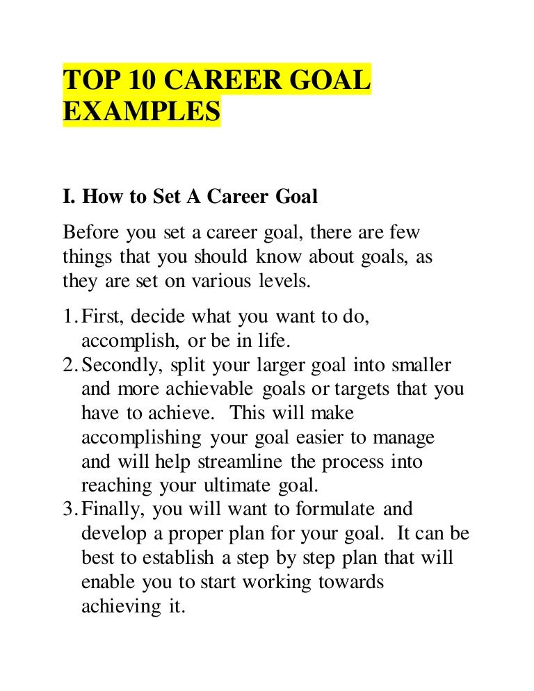 Awesome Writing Career Goals Examples Intended For How To Write Career Goals