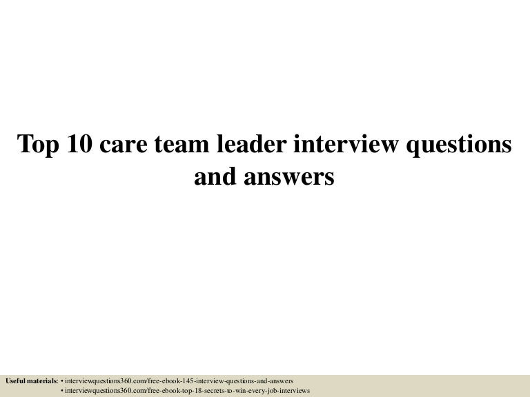 interview question for team leader