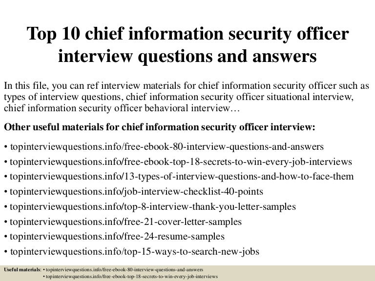 top 10 chief information security officer interview questions and ans - Ciso Resume
