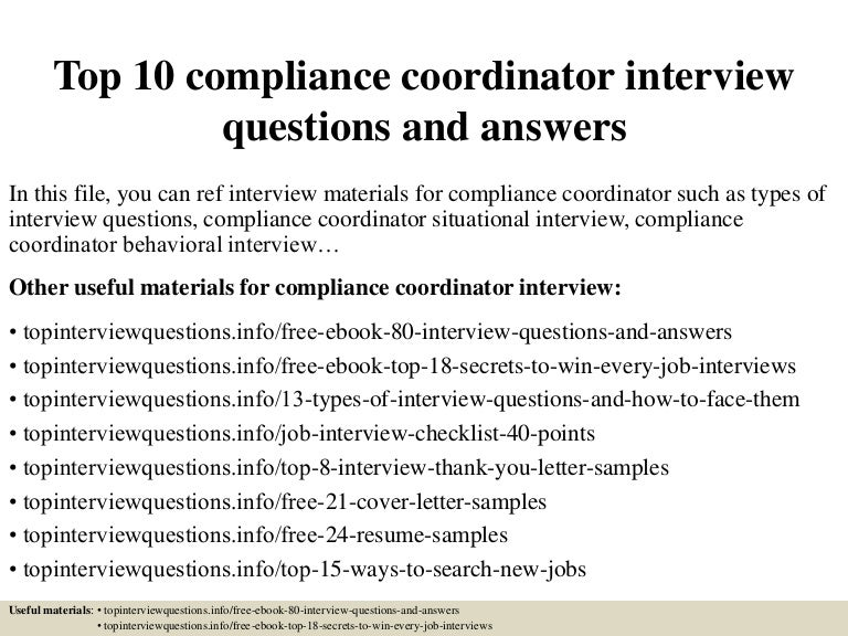 top 10 compliance coordinator interview questions and answers