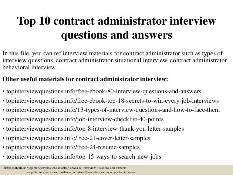 top10contractadministratorinterviewquestionsandanswers150328005818conversiongate01thumbnail4jpgcb 1427522346 – Contract Administrator Job Description