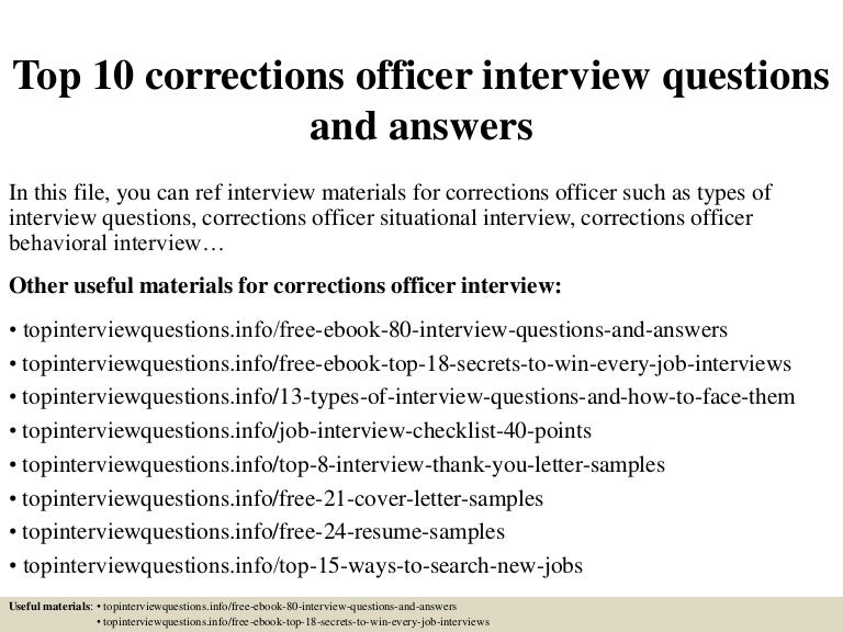 top 10 corrections officer interview questions and answers. Resume Example. Resume CV Cover Letter