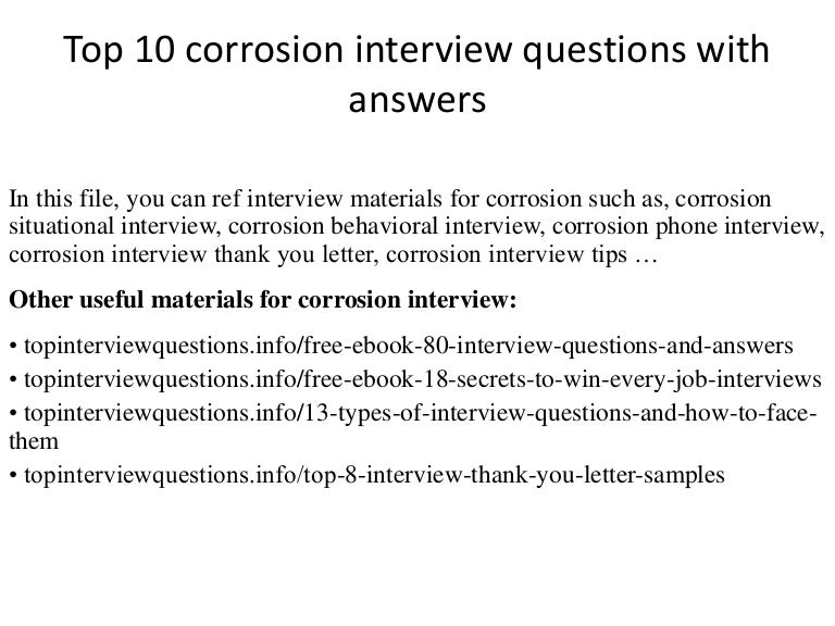Top 10 corrosion interview questions with answers fandeluxe Image collections