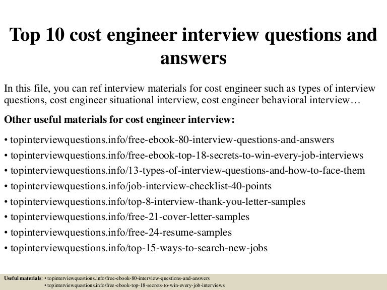 Top  Cost Engineer Interview Questions And Answers - Cost engineer cover letter