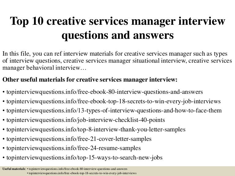 Top 10 creative services manager interview questions and answers