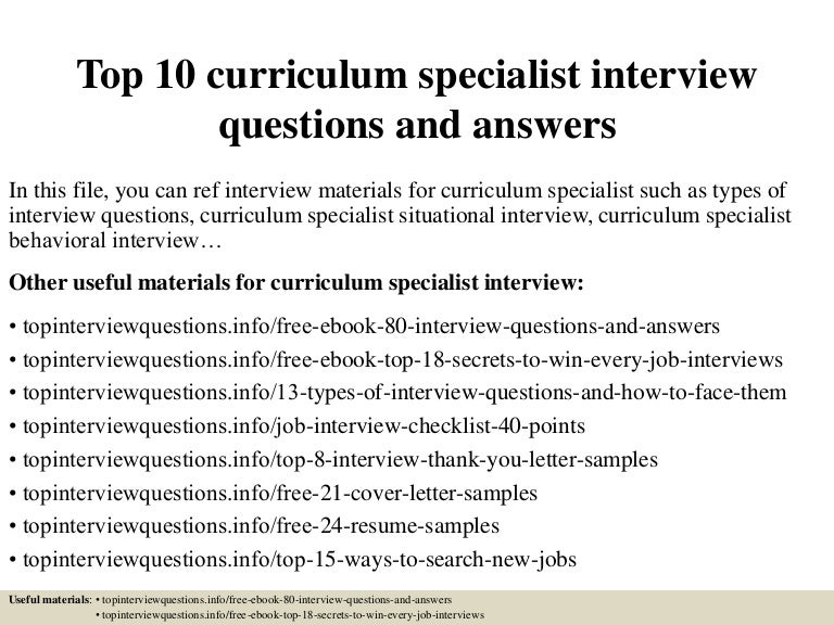 Top 10 Curriculum Specialist Interview Questions And Answers