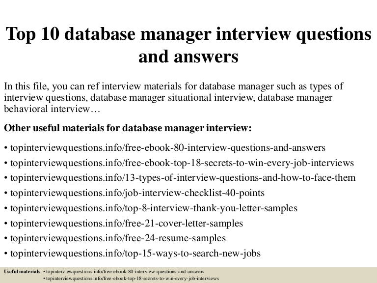 Top 10 database manager interview questions and answers