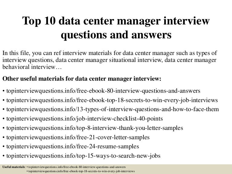 Top 10 data center manager interview questions and answers
