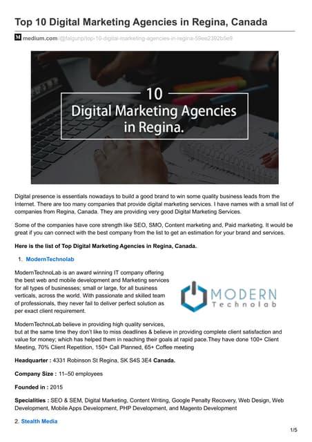 Top 10 Digital Marketing Agencies in Regina, Canada