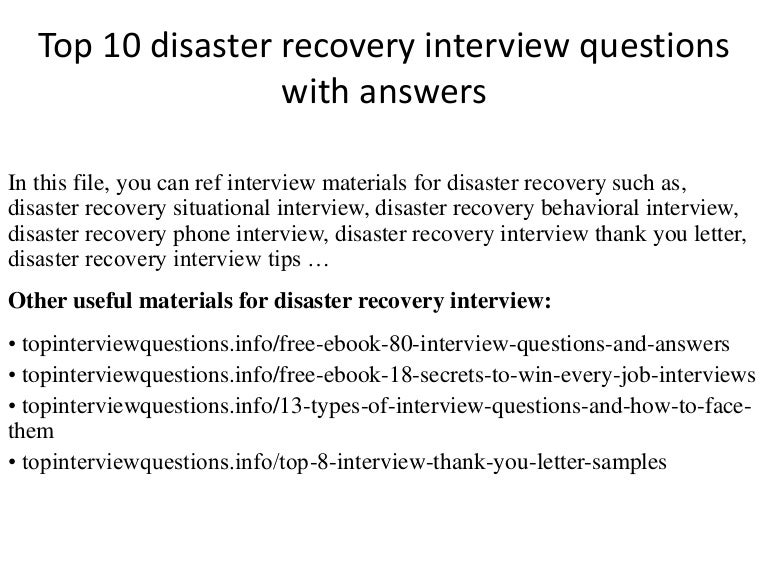 Top 10 disaster recovery interview questions with answers