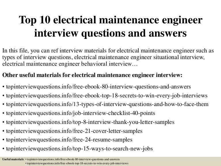 Electrical Maintenance Engineer Sample Resume] Professional ...