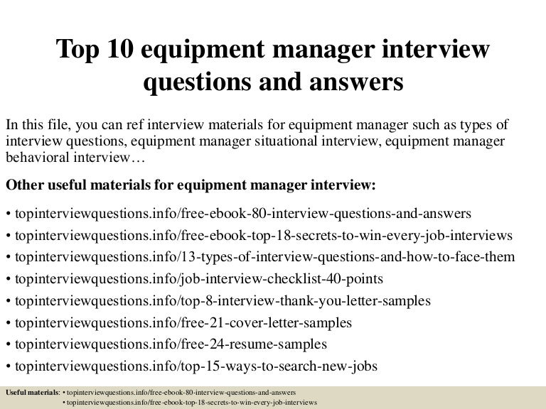 Top 10 equipment manager interview questions and answers