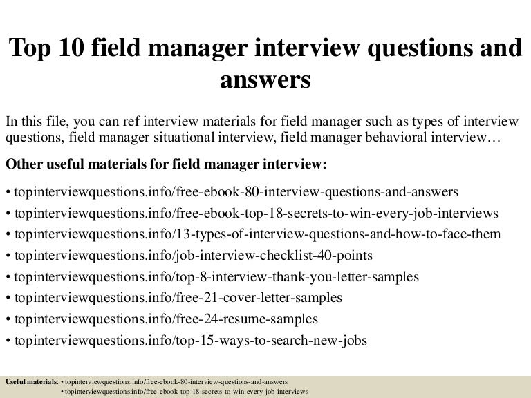 Top 10 field manager interview questions and answers